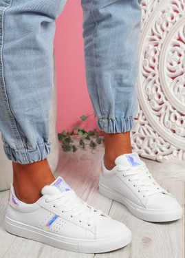 Tynna White Color Silver Shiny Trainers