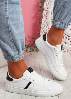 Tynna White Black Shiny Trainers