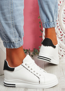 Monna White Black Glitter Trainers