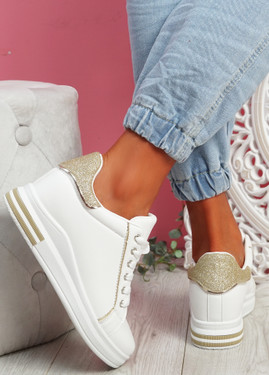 Monna White Gold Glitter Trainers