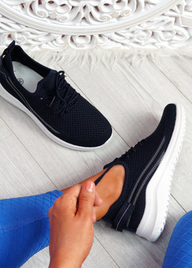 Pobba Navy Knit Running Trainers