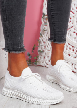 Mava White Knit Running Sneakers