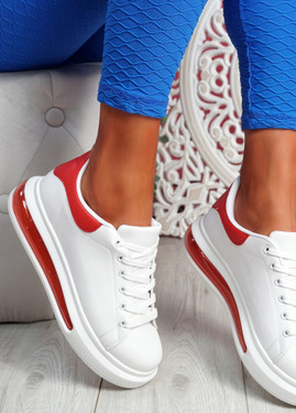 Salla Red Clear Sole Plimsolls