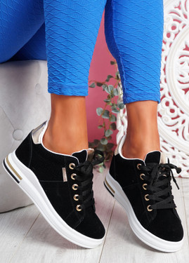 Jozy Black Lace Up Trainers