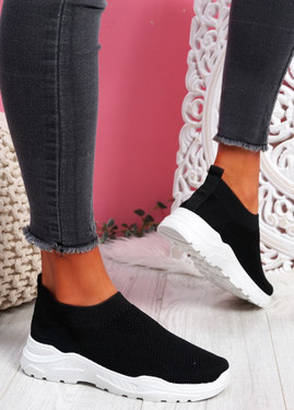 Howa Black Knit Slip On Trainers