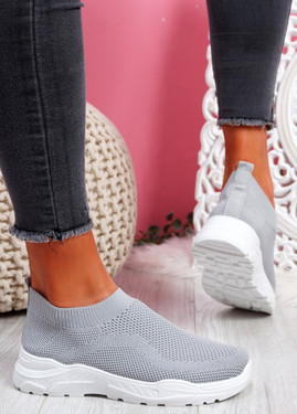 Howa Grey Knit Slip On Trainers
