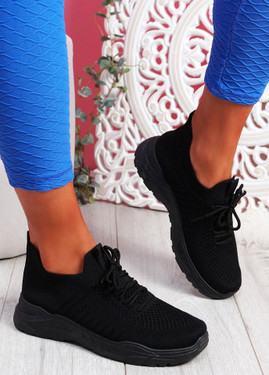 Koda Black Knit Chunky Sneakers