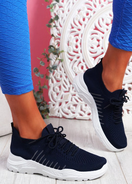 Koda Blue Knit Chunky Sneakers