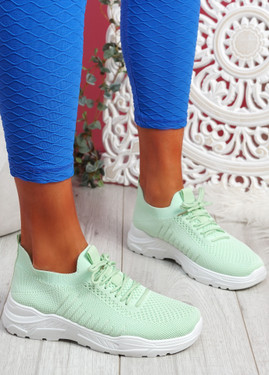 Koda Green Knit Chunky Sneakers