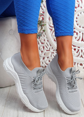 Koda Grey Knit Chunky Sneakers
