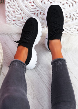 Tilla Black Chunky Sport Trainers