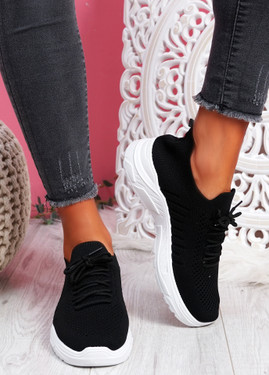 Vono Black Knit Sport Sneakers