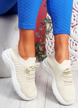 Vono Beige Knit Sport Sneakers