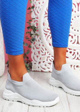 Noxy Grey Slip On Knit Trainers