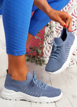 Vono Jeans Blue Knit Sport Sneakers