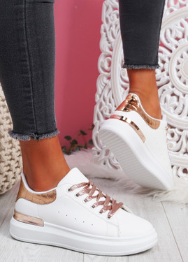 Pofy White Champagne Croc Pattern Trainers