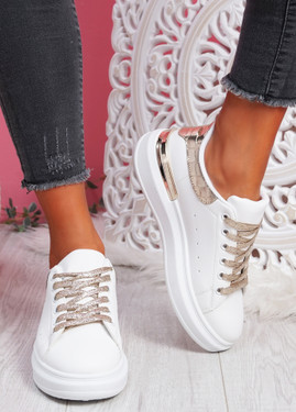Pofy White Gold Croc Pattern Trainers