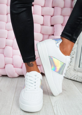 Sumy White Multicolor Platform Trainers