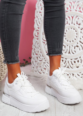 Cutty White Flatform Trainers