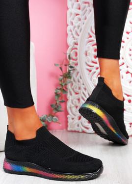 Tissy Black Slip On Rainbow Trainers