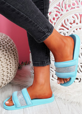 Nitto Blue Diamante Studded Flat Sandals