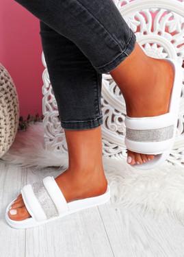 Nitto White Diamante Studded Flat Sandals