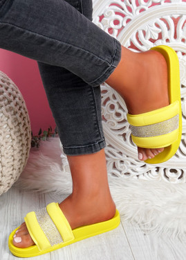 Nitto Yellow Diamante Studded Flat Sandals