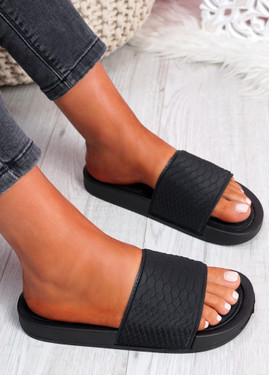 Soha Black Flat Sandals Sliders