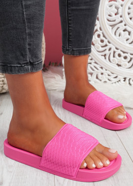 Soha Fuchsia Flat Sandals Sliders