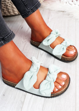 Hogy Green Bow Flat Sandals