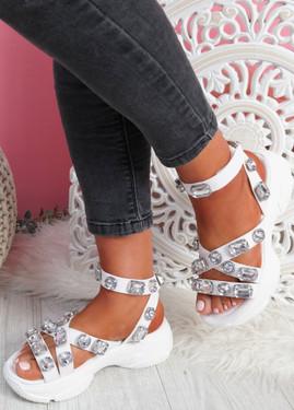 Shoya White Rhinestone Chunky Sandals