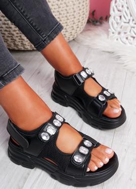 Aleha Black Rhinestone Chunky Sandals