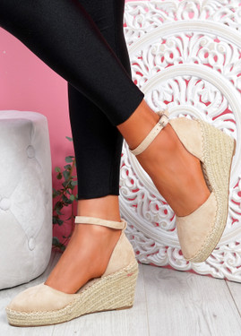 Tifa Beige Wedges Platform Sandals