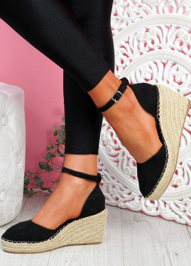 Tifa Black Wedges Platform Sandals