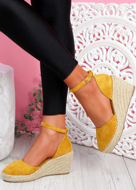 Tifa Yellow Wedges Platform Sandals