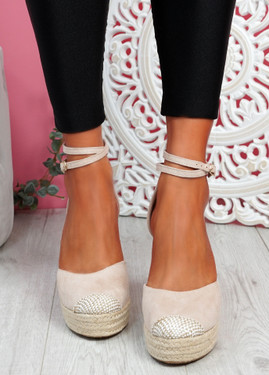 Uty Beige High Heel Wedge Sandals