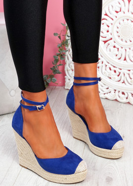 Uty Blue High Heel Wedge Sandals