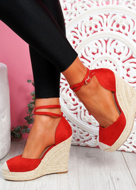 Uty Red High Heel Wedge Sandals