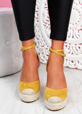 Uty Yellow High Heel Wedge Sandals
