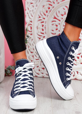 Tuga Jeans Blue Platform Trainers