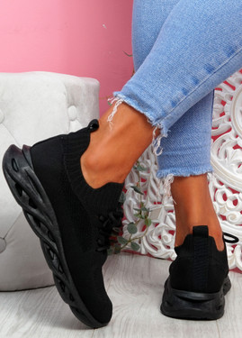 Timo Black Knit Trainers