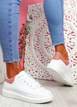 Mozy White Pink Flatform Trainers