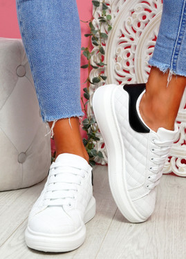 Mozy White Black Flatform Trainers