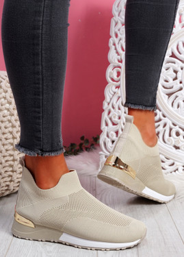 Rovy Beige Sock Sneakers