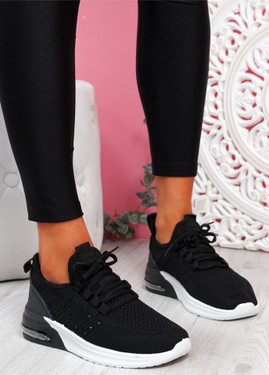 Bomy Black Knit Sport Trainers