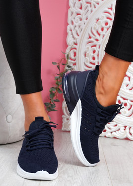 Bomy Navy Knit Sport Trainers