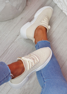 Togy Beige Knit Trainers