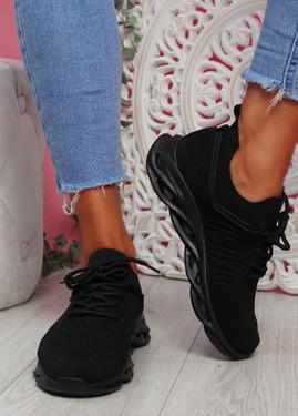 Nuza Black Sport Sneakers