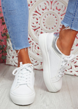 Nuby White Silver Platform Trainers