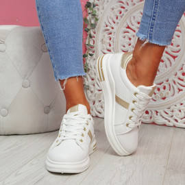 Jomy Gold Lace Up Trainers